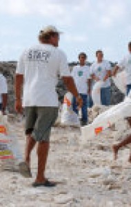Beach clean up with school